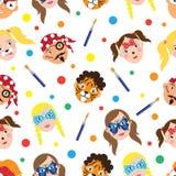 Gesichtsmalerei für Kindersammlung Nahtloses Muster Auch im corel abgehobenen Betrag vektor abbildung