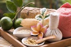 Gesichtsmaske mit Thanaka und Zitrone, Badekuren auf natürlichem Hintergrund stockfoto