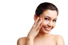 Gesichtsmassage mit getrennt auf Weiß Stockbild