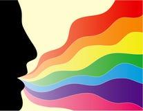 Gesichtsschattenbild mit einem Regenbogen Stockfotos