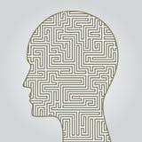 Gesichtsschattenbild mit Labyrinth nach innen Stockbild