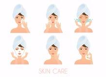 Gesichtssorgfaltprogramm Mädchen-Reinigung und interessieren sich ihr Gesicht mit verschiedenem vektor abbildung