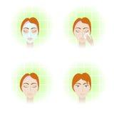 Gesichtssorgfaltstufen Vektor Abbildung