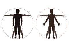 Gesilhouetteerd menselijk lichaam Stock Afbeeldingen