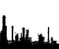 Gesilhouetteerd van olieraffinaderij Royalty-vrije Stock Foto's