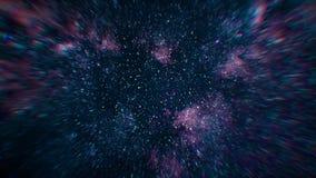 Gesimuleerde ruimtevlucht door verspreide grote sterren Kosmische ruimte met grote clusters van sterren stock fotografie