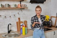 Gesindedienst- und Haushaltungskonzept, Reinigungsküchenkessel glücklicher blonder Dame stockfotos