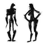 Geslachtsverschillen Karikatuur van de mens en vrouw Royalty-vrije Stock Afbeeldingen