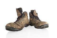 Geslagen oude trecking laarzen Stock Foto