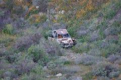 Gesloopt en Rusty Car bij de Bodem van een Ravijn stock foto