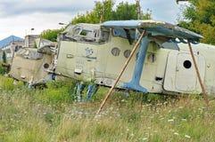 Gesloopt Vliegtuig Begraafplaats van vliegtuigen stock foto's