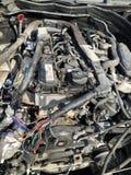 Gesloopte motor van een auto Stock Foto's