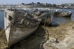 Gesloopte schepen in Bretagne Royalty-vrije Stock Foto's