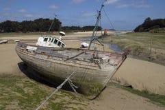 Gesloopte schepen in Bretagne Royalty-vrije Stock Foto