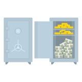 Gesloten brandkast open met geld en goud Royalty-vrije Stock Foto