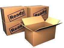 Gesloten dozen und geopende doos Stock Foto