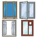 Gesloten en open vensters De stijl van het beeldverhaal Stock Afbeelding