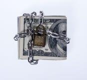 Gesloten Geld op Witte Achtergrond stock foto's
