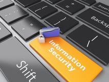 Gesloten Hangslot, omslag en Informatiebeveiliging op computer keyb Stock Afbeelding