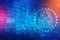 Gesloten Hangslot op het digitale scherm, cyber de achtergrond van het veiligheidsconcept stock illustratie