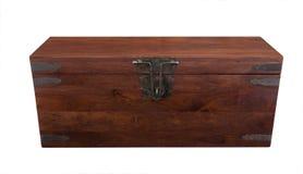 Gesloten houten borst frontale mening Royalty-vrije Stock Afbeeldingen