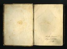 Gesloten naadloos beeld van oud vergeeld blad van document met donkere vlekken en een facsimile van de inschrijving Stock Afbeelding