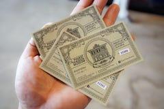 Gesloten omhoog geschotene kaartjes voor de bezoeker voor Phuket Thaise Hua M Stock Foto