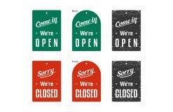 Gesloten & Open Tekens vector illustratie