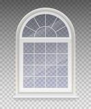 Gesloten overspannen venster met transparant glas in een wit kader geïsoleerd op een transparante achtergrond Vector Royalty-vrije Stock Fotografie