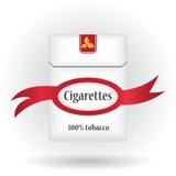 Gesloten pak sigaretten Het pictogram van het sigarettenpak Sigarettenpak met lint De illustratie van het sigarettenpak Stock Fotografie