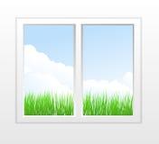 Gesloten plastic venster met mening Stock Foto's