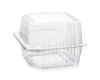 Gesloten transparante plastic voedsel verpakkingsdoos royalty-vrije stock foto's