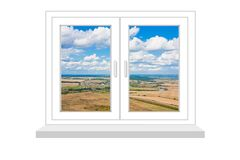 Gesloten venster met een soort op landelijk landschap op een witte backgrou Royalty-vrije Stock Afbeeldingen