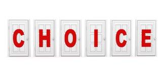 Gesloten witte deuren met rode teksten. keus concept Royalty-vrije Stock Fotografie
