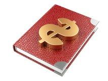 Gesloten zwart leernotitieboekje en dollarteken Het Businessplan van Royalty-vrije Stock Afbeelding