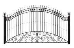 Gesmede poorten met decor Royalty-vrije Stock Foto's