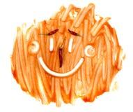 Gesmeerde vulklei van tomaat het kleden zich textuur of ketchupvlek stock foto's