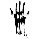 Gesmeerde zwarte handprint Stock Foto's