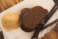Gesmolten bruine suikerkaramel met vanille royalty-vrije stock foto