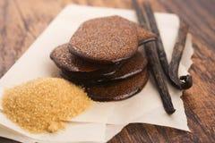 Gesmolten bruine suikerkaramel met vanille stock afbeelding