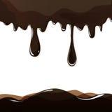 Gesmolten chocolade het druipen reeks op witte achtergrond Stock Afbeeldingen