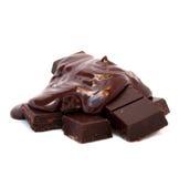 Gesmolten Chocolade op de Tabletten van de Chocolade Stock Foto