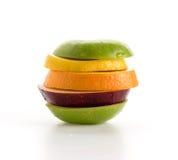 gesneden appelen en oranje fruit Royalty-vrije Stock Afbeeldingen