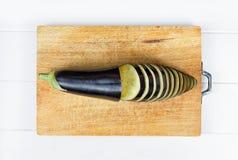 Gesneden auberginehout royalty-vrije stock afbeeldingen