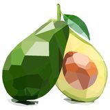 Gesneden Avocado, Illustratie van Fruit Veelhoekig Art. stock illustratie
