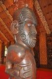 Gesneden binnenland van een huis van de Maorivergadering stock foto's