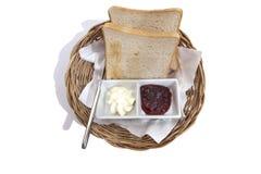 Gesneden broodjam en botertafelzilver Royalty-vrije Stock Afbeeldingen
