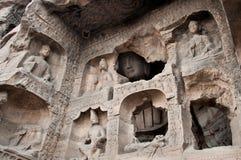 Gesneden buddhas bij de Yungang Holen, Datong stock fotografie