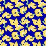 Gesneden citroen en de uiterst kleine witte vector van het bloemen naadloze patroon stock illustratie
