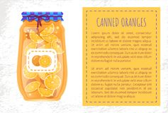 Gesneden die Sinaasappelen in Kleine Glascontainer worden ingeblikt stock illustratie